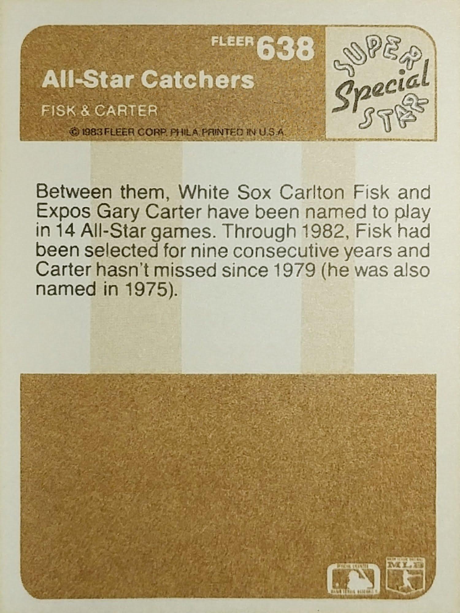 Fleer 1983 All-Star Catchers back
