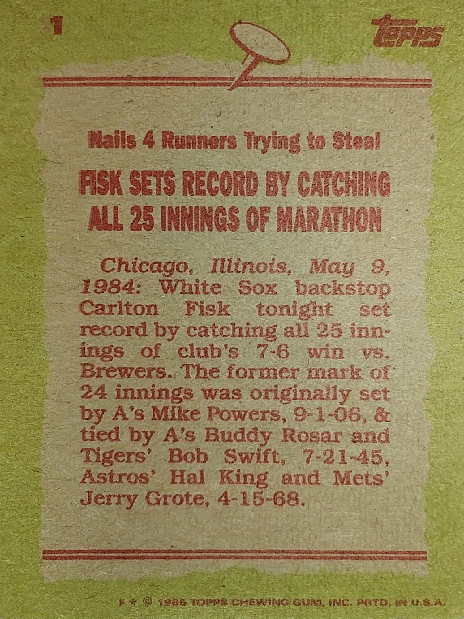 Topps 1985 Record Breaker Back