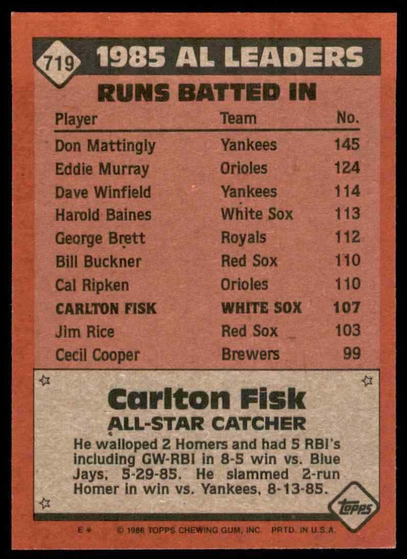Topps All-Star 1986 Back