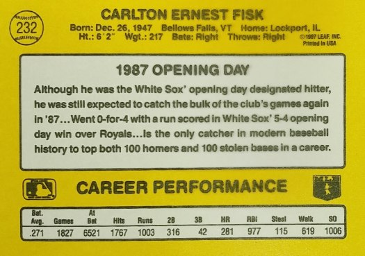 Donruss 1987 Opening Day Back